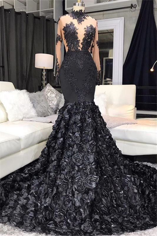 Lace Appliques Flowers High Neck Prom Dresses | Sheer Tulle Mermaid Evening Dresses