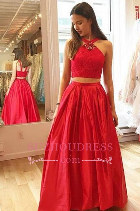 2020 A-Line Crystal Halter Two-Pieces Glamorous Red Prom Dresses