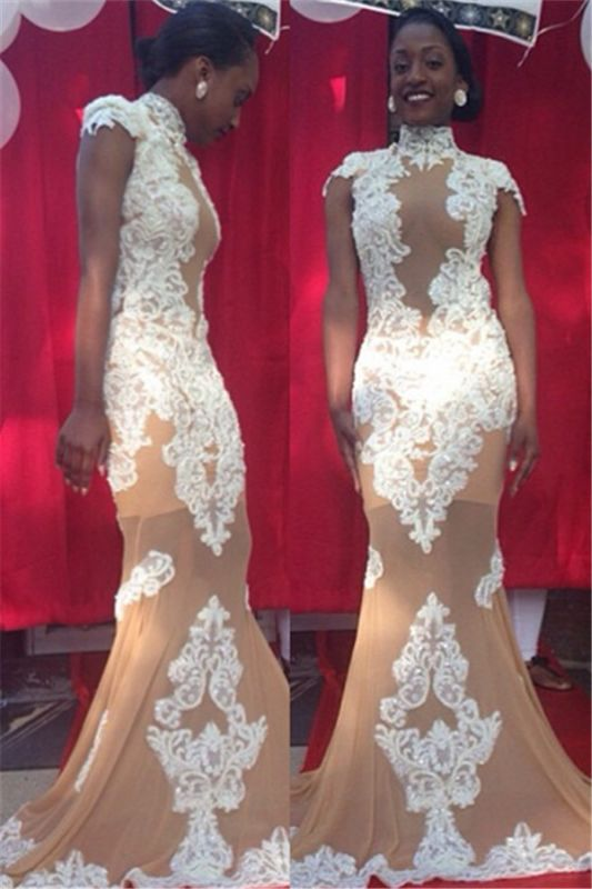 Cheap High Neck Mermaid Lace Prom Dresses Long | Sexy See Through Nude Evening Gowns