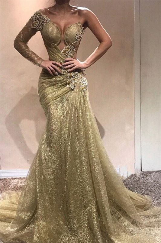 Champagne Gold One Sleeve Sexy Prom Dresses 2020 | Appliques Ruffles Cheap Evening Gowns