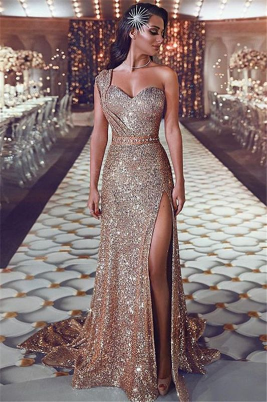 One Shoulder Sexy Split Gold Sequins Evening Dresses | Sleeveless Cheap Prom Dresses 2020 BC0131