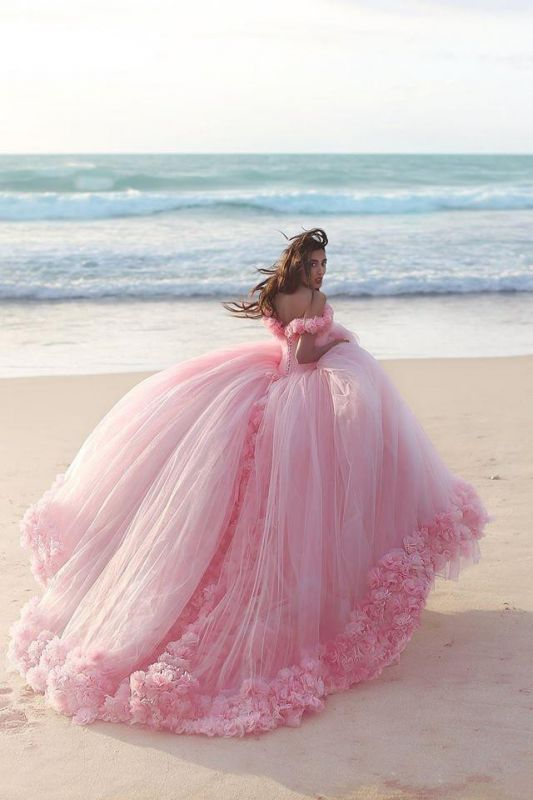 2020 Sweet 16 Quinceanera Dresses Off The Shoulder Corset Canfy Pink Wedding Dress with Flowers BA3070