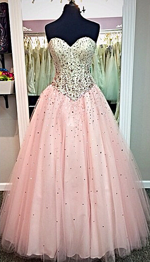 Sweetheart Pink Ball Gown Prom Dresses with Crystals Beadings 2020 Long Cute Evening Dresses in High Quality