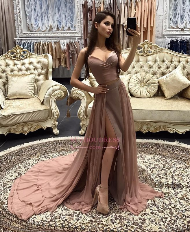 Sexy A-line Prom Dresses 2020 Layers Side-Slit Straps Long Evening Gowns CD0066