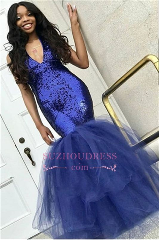 Sexy Mermaid Sequins Prom Dresses | 2020 Cheap Tulle Sleeveless V-Neck Evening Dresses