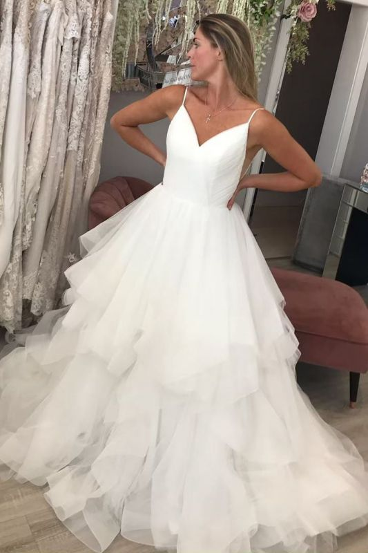 Spaghetti Straps Puffy Tulle Wedding Dresses | Sexy V-neck Bridal Gowns