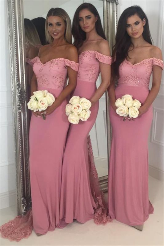 Beads Lace Off The Shoulder Cheap Bridesmaid Dress | Open Back Sexy Pink Maid of Honor Dresses BA9882