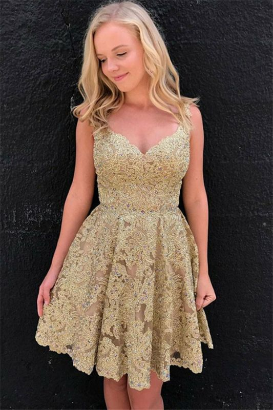 Sexy V-neck Gold Lace Short Homecoming Dresses Online | Sleeveless Cheap Hoco Dresses 2020 bc1897