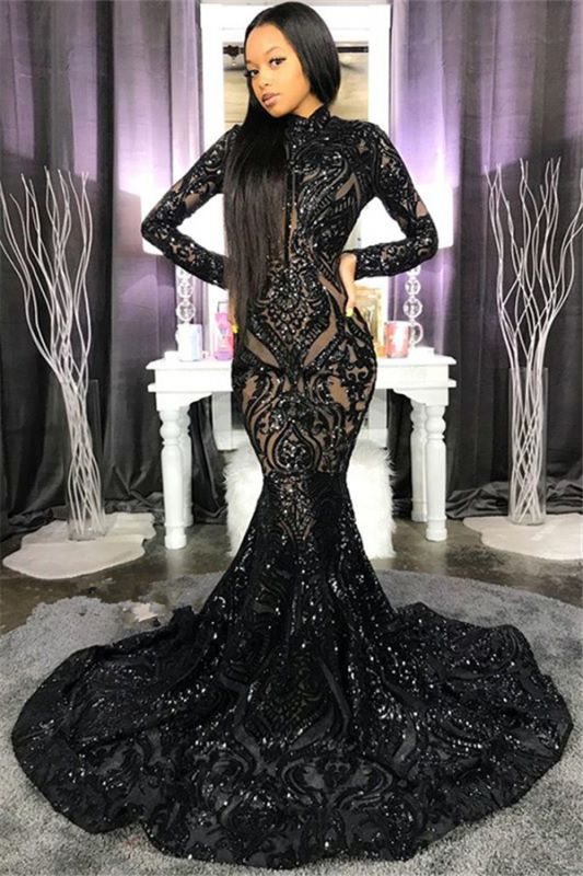 High Neck Shiny Appliques Prom Dresses | Mermaid Long Sleeve Evening Gowns BC4122
