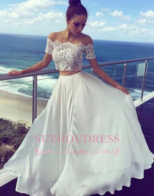 Lace White Two-pieces Off-the-shoulder Prom Dresses 2020 Long Evening Dress BA7422