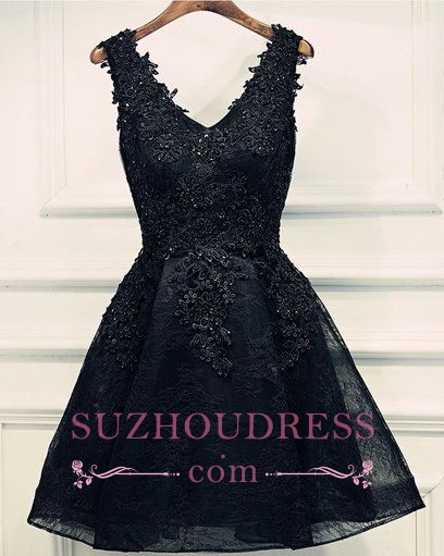 Lace-Up Short Beading Black Lace-Appliques V-Neck Homecoming Dresses