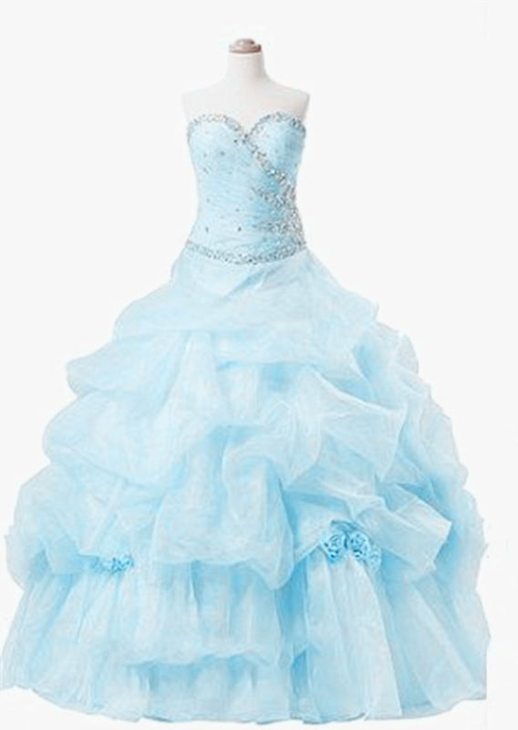 Elegant Sweetheart Crystal Ball Gown Quinceanera Dress Floor Length Tiered Custom Made Dresses with Beadings
