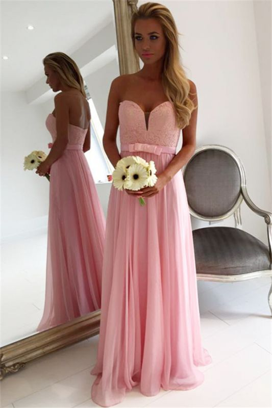 Sweetheart Pink Lace Chiffon Bridesmaid Dresses | Open Back Cheap Blowknot Maid Of Honor Dress 2020