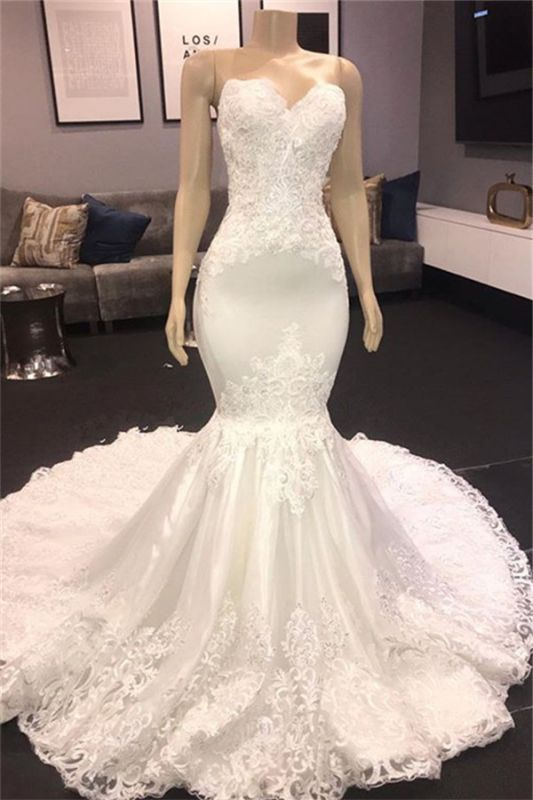 Strapless Lace Appliques Cheap Wedding Dresses | Sexy Mermaid Bridal Gowns 2020