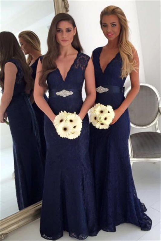 V-neck Navy Blue Lace Bridesmaid Dresses with Bowknot Sash | Sleeveless Cheap Maid Of Honor Dresses