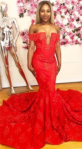 Off The Shoulder Red Lace Prom Dresses for Juniors | Sexy Mermaid Long Evening Gowns with Court Train