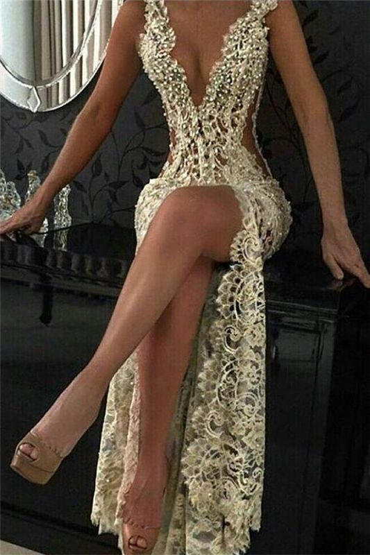 Sexy Lace Evening Gowns 2020 Sleeveless Beading Split Popular Prom Dresses CE0061