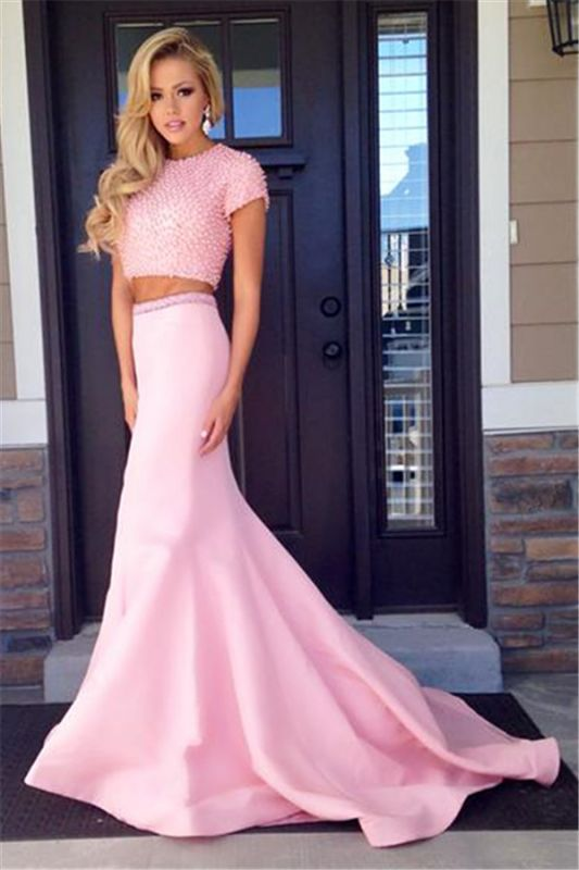 Pink Short Sleeve Two Piece Prom Dress 2020 Mermaid Long Train Evening Dress with Beads CJ0439