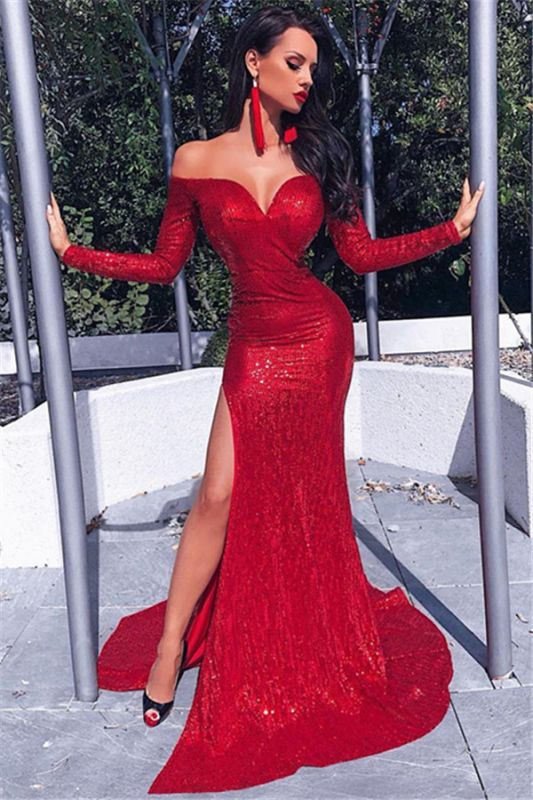 Elegant Off Shoulder Sequins Prom Dresses 2020 | Sexy Long Sleeves Split Evening Dresses Cheap bc0602