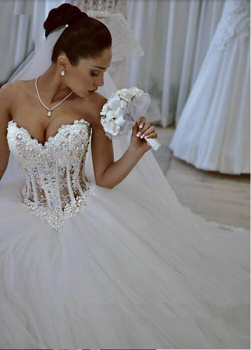 Sparkly Crystal Ball Gown Corset Wedding Dress With Beadings Sweetheart Tulle Princess Bridal Gown Suzhoufashion,Mermaid Sweetheart Lace Romantic Wedding Wedding Dresses