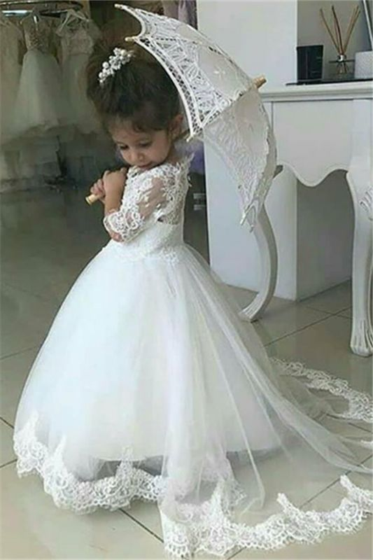 Cute Half Sleeves Lace Flower Girl Dresses 2020 | Tulle Ball Gown Wedding Party Dresses