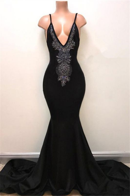 V-neck Straps Sexy Black Prom Dress   Mermaid Beads Sexy Evening Gown