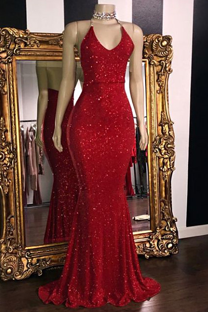 Sparkle Sequins Sexy Red Prom Dresses Cheap 2020 | Halter V-neck Backless Formal Evening Gowns BC1085
