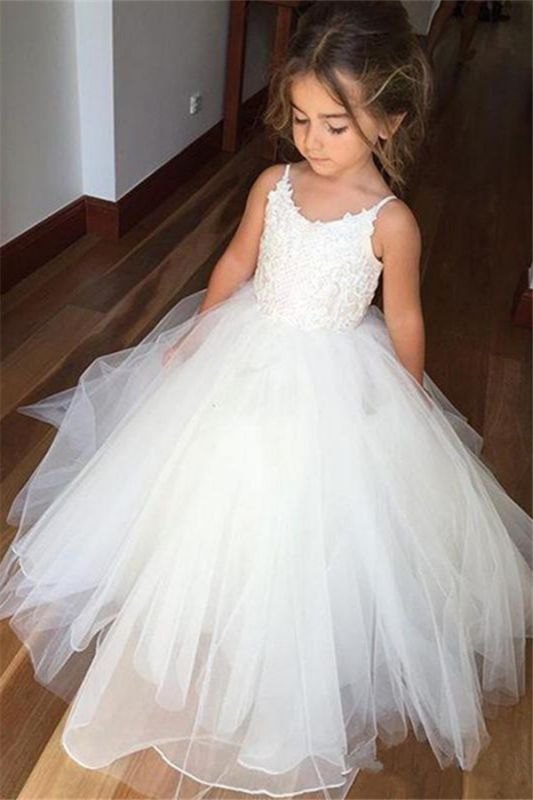 Lovely Sleeveless Spaghetti Straps Lace Flower Girl Dresses | White Tulle Ball Gown Pageant Dresses 2020
