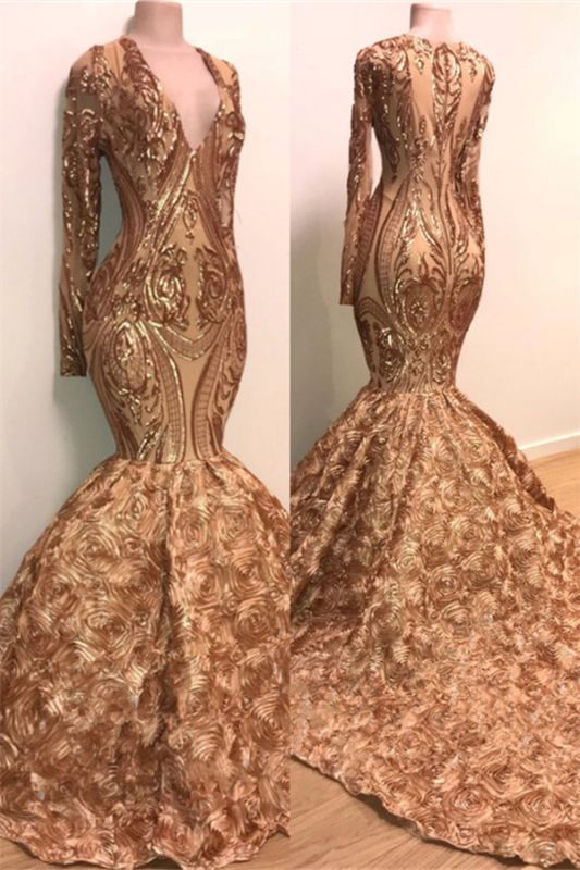 V-neck Long Sleeve Gold Sparkle Appliques Prom Dress | Mermaid Flowers Real Prom Dress on Mannequins BC1373