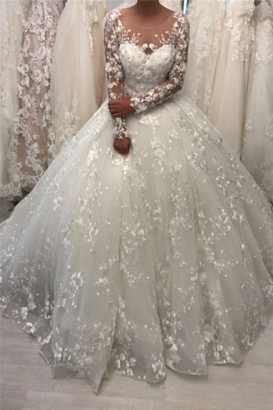 Lace Long Sleeve Ball Gown Wedding Dresses | Sheer Tulle Appliques Bridal Gowns Online