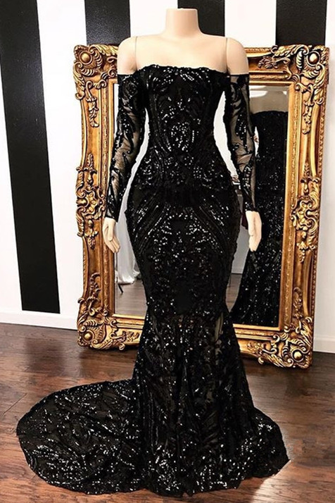 Sparkle Off The Shoulder Black Prom Dresses 2020 | Long Sleeve Mermaid Formal Evening Gowns