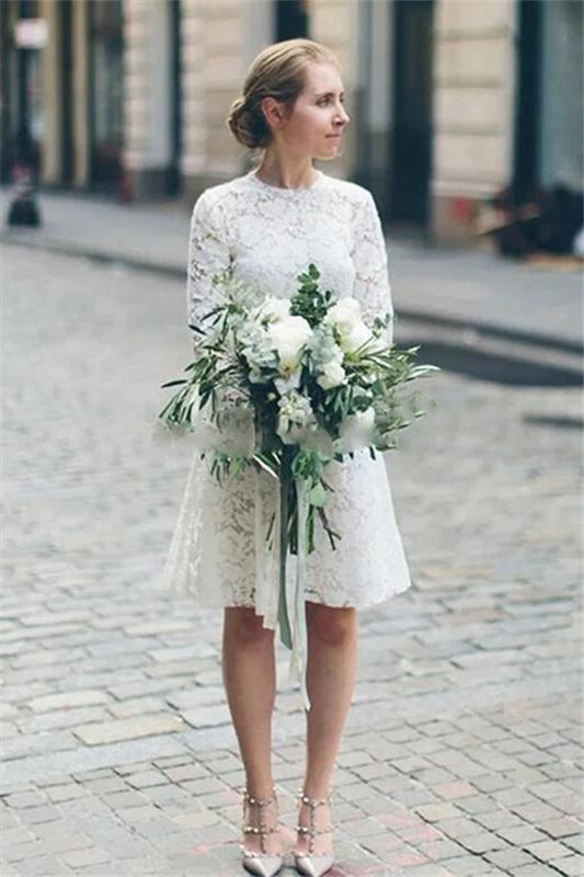 Long Sleeve Lace White Short Wedding Dresses | Chic A-line Cheap Bridal Gowns