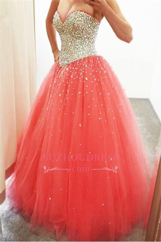 2020 Cheap Sparkly Puffy Sweetheart Tulle Quinceanera Crystals Dresses