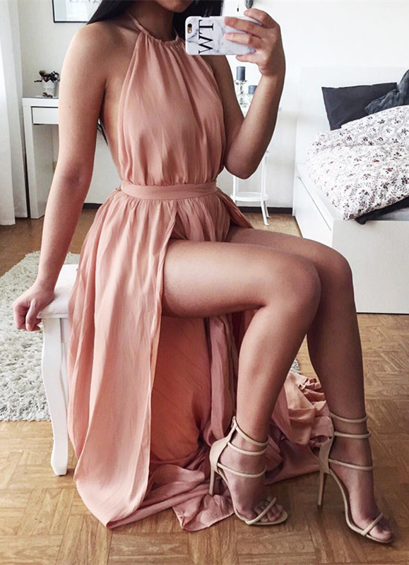 Sexy Halter Chiffon Summer Dresses Natural Split 2020 A-Line Prom Gowns