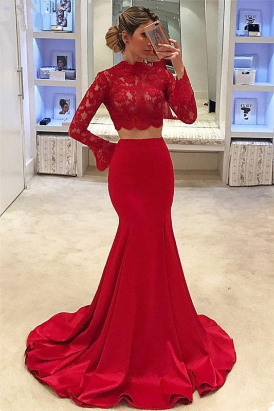 High Neck Long Sleeve Two Piece Prom Dresses 2020 Mermaid Lace Cheap Formal Evening Gown
