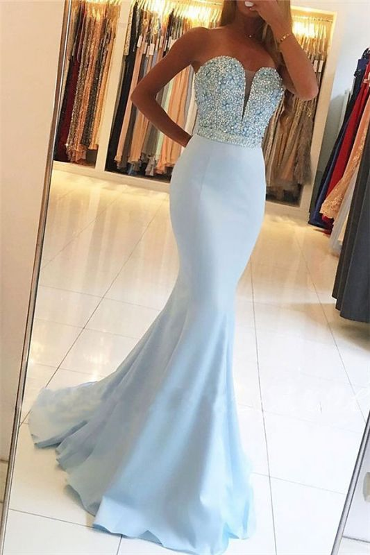 Baby Blue Mermaid Open Back Prom Dresses Sexy 2020 Beads Sequins Formal Evening Dresses BA7755