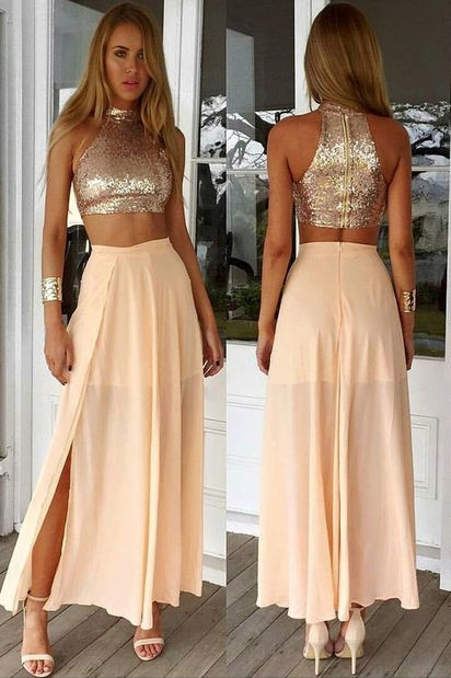 Sexy High Collar Two Piece Prom Dress Cheap Sequined Chiffon Formal Occasion Dresses