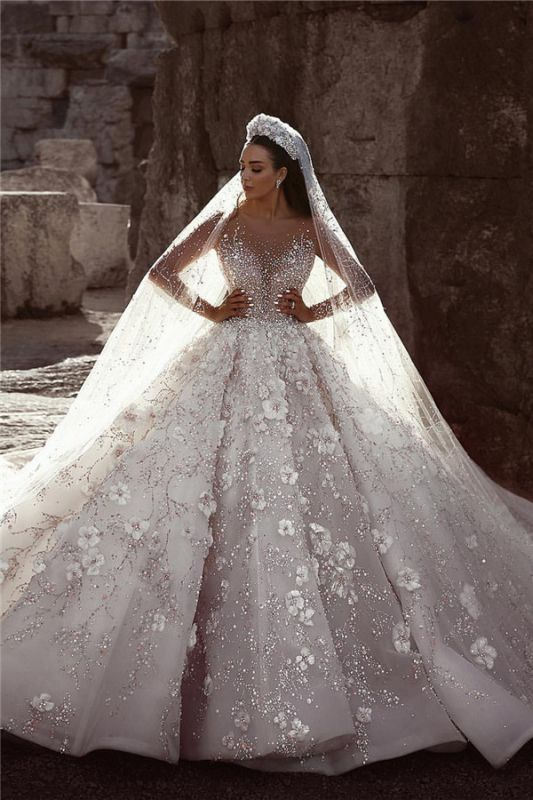 Glamorous Long Sleeves Flowers Wedding Dresses | 2020 Beadings Bridal Ball Gowns BC0151