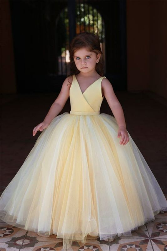 Lovely Yellow V-Neck Flower Girl Dresses | 2020 Sleeveless Tulle Pageant Dresses BC0848