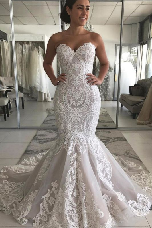 Strapless Mermaid Lace Appliques Wedding Dresses | Cheap Sexy Open Back Bridal Gowns