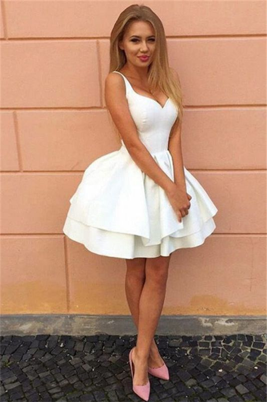 Sexy Straps V-neck Tiered Short Pary Dresses 2020 Lace-Up Puffy Cheap Homecoming Dress BA7022