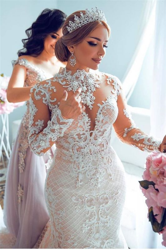 Gorgeous Sheer Tulle Lace Appliques Wedding Dresses | High Neck Long Sleeve Bridal Gowns with Court Train