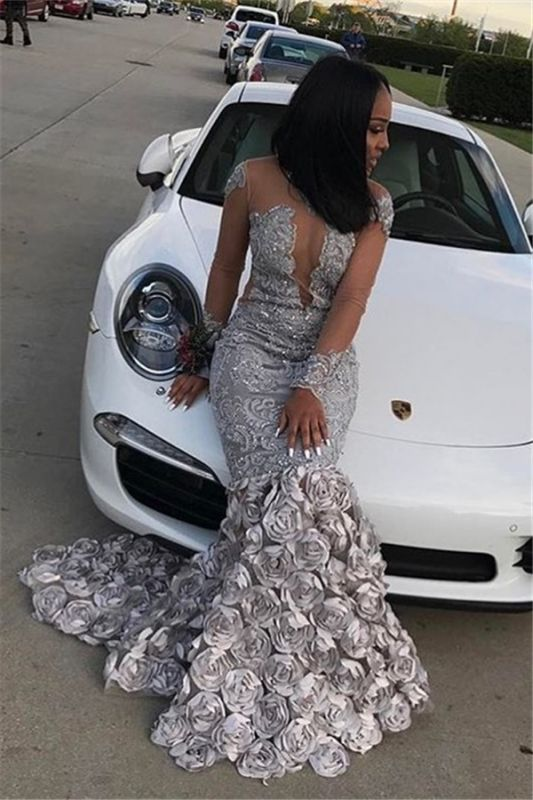 Sexy Mermaid Long Sleeves Prom Dresses 2020 Flowers Appliques Court Train Evening Gowns SK0122
