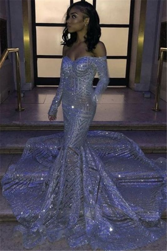 Sparkle Silver Sequin Prom Dresses Cheap 2020 | Mermaid Long Sleeve Sexy Evening Gowns