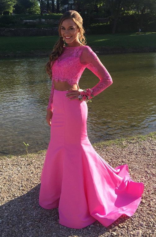 Cute Lace Two-Piece Prom Dress 2020 Long-sleeve Mermaid Evening Gowns