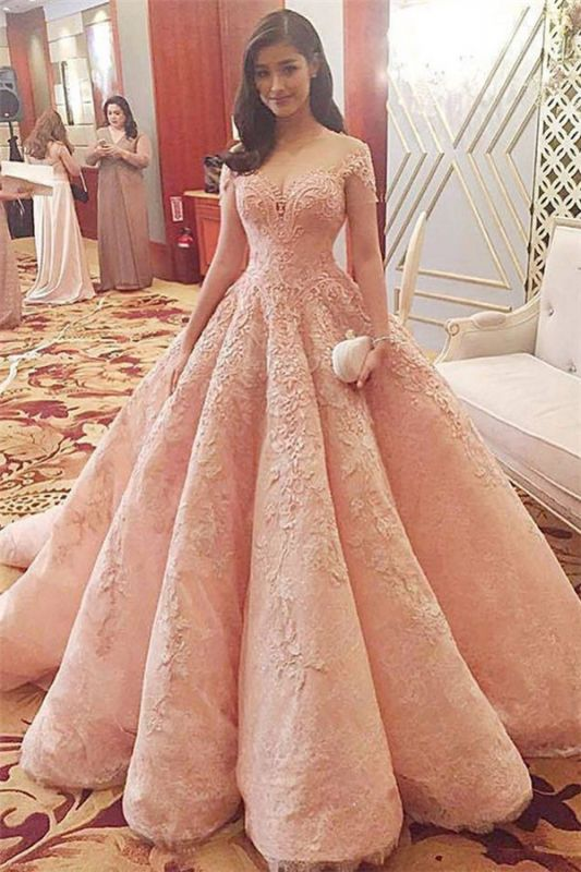 Coral Pink Lace Appliques Formal Evening Gowns | Short Sleeve Ruffles Ball Gown Wedding Reception Dresses Cheap