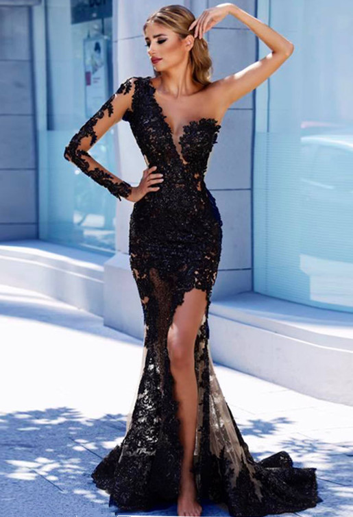 One Sleeve Black Lace Cheap Prom Dresses 2020   Mermaid See Through Sexy Long Evening Dress FB0408
