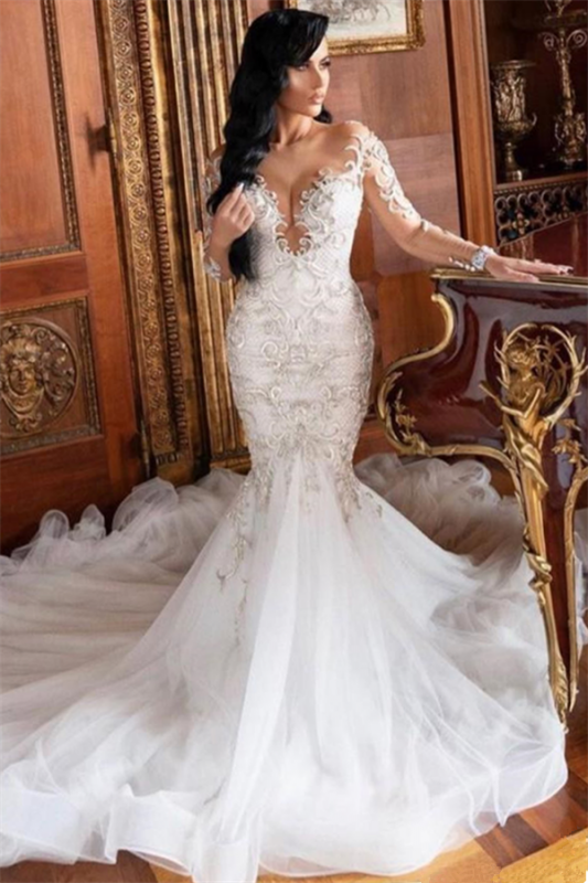 Long Sleeve Sexy Mermaid Wedding Dresses with Sleeves | Sheer Tulle Cheap Bridal Gowns with Court Train