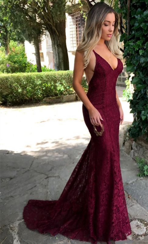 Sexy V-neck Burgundy Lace Formal Evening Dresses 2020 Backless Mermaid Prom Dress FB0157
