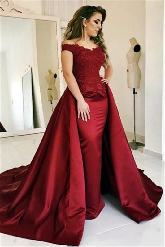Red Off Shoulder Sheath Evening Dresses 2020 | Glamorous Lace Evening Gown with Overskirt